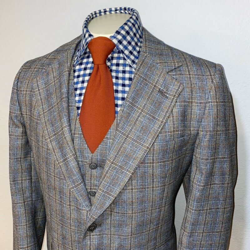Vtg 60s 70s Barrister 2 PIECE SUIT Plaid Vest Blazer Jacket Blazer Mod Mens 42 R