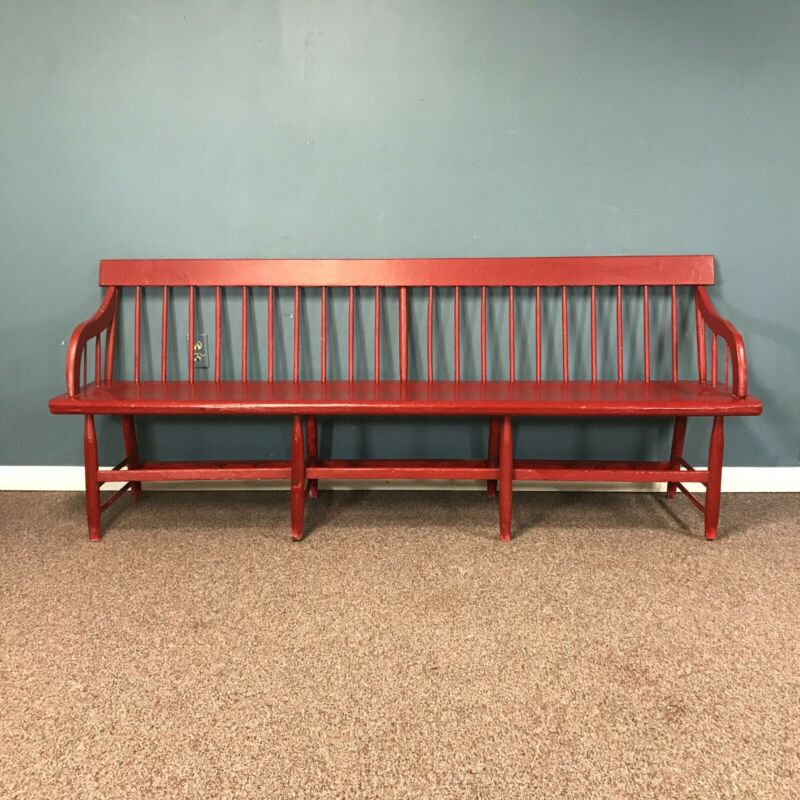 19th Century Country Decan Bench in Red Paint