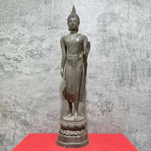 "21"" Bronze Walking Buddha Statue Thailand Sukhothai Antique Art Standing Buddha"
