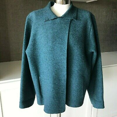 Eileen Fisher Size Large Button Neck Wool Jacket Coat