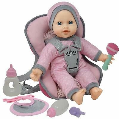 Doll Travel Play Set - Baby Doll Car Seat Carrier Backpack with 12 Inch Doll