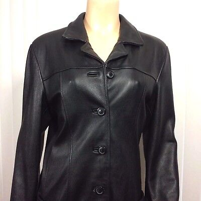 Wilsons Leather Jacket Sz L Womans Black Pebble Lined Button Down Pockets 1990s