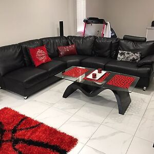 Black Corner Leather Couches 7 seater As NEW Ashcroft Liverpool Area Preview