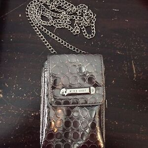 Nine West Silver Clutch with Cell Phone Holder