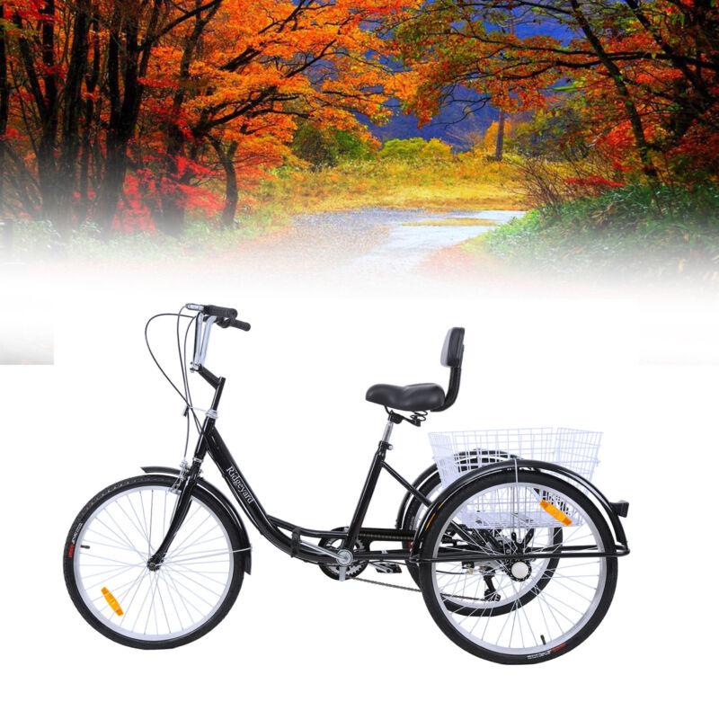 """24"""" Adult Tricycle 3-Wheel 7 Speed Bicycle Trike Bike Cruise"""