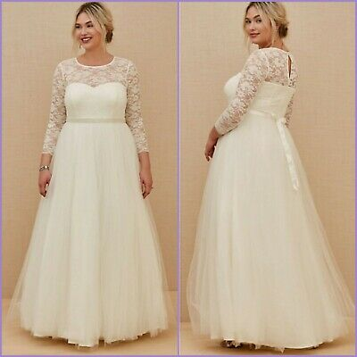 New! 18 Torrid Ivory Lace & Tulle Beaded Wedding Dress + Lane Bryant or Modcloth