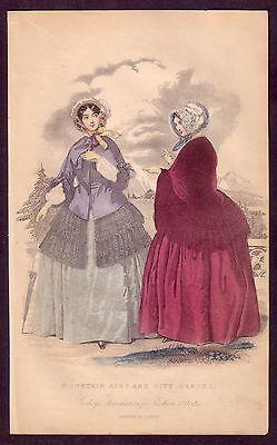 1850s Antique Victorian Era Ladies Dress Fashion Costume Color Art Print