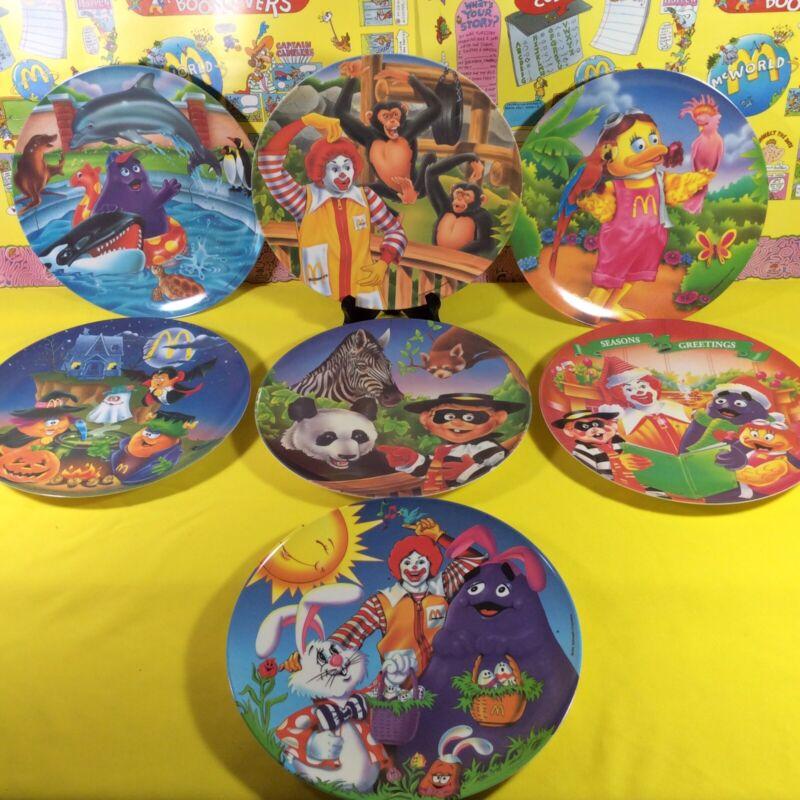 Vintage McDonalds Plates Ronald Grimace Birdie Hamburglar Holidays Animals 1990s