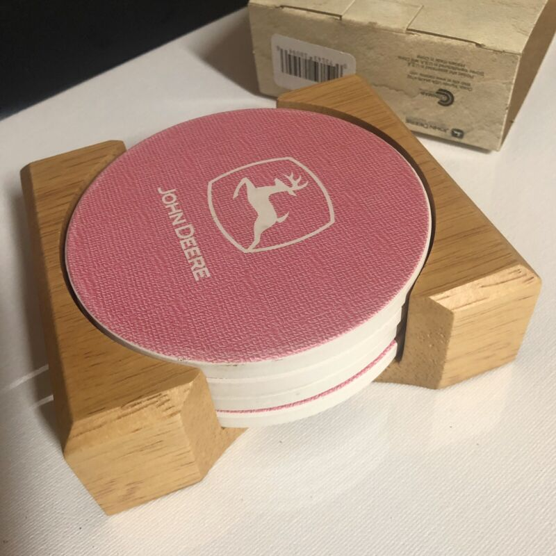 Set of Four (4) New Pink John Deere Stoneware Coasters with Wooden Holder Exc