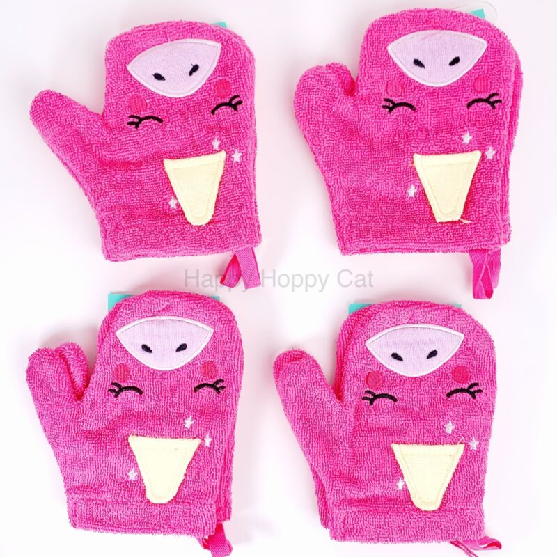 Lot of 4 Pink Unicorn Bath Mitts Pink - Pillowfort™ New With Tags