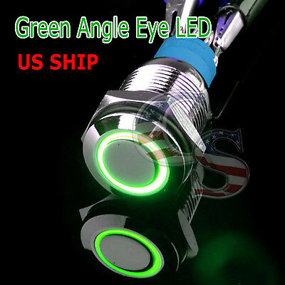 Durable 12v Led 16mm Car Momentary Push Button Green Angel Eye Metal Switch