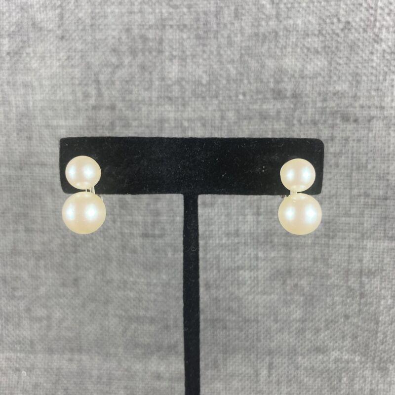 Vintage Double Pearl Screw Back Earrings