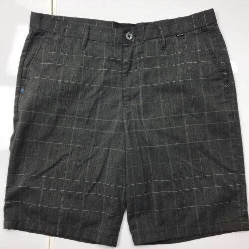 Hurley Men's Plaid Shorts Size 36 Tailored Gray Sk