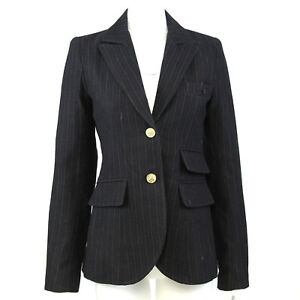 Smythe Womens Blazer Size 8 Black Pinstripe 100% Wool Lined Leather Elbow Patch