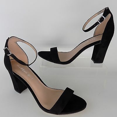 MADDEN GIRL Beella Black Fabric Ankle Strap Heels Women Shoes Size 8.5 AL2526 Fabric Heels Shoes