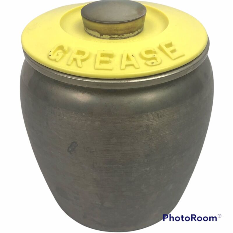 Kromex Grease Container Bin with Strainer Lid Aluminum Metal Yellow Rare Vintage