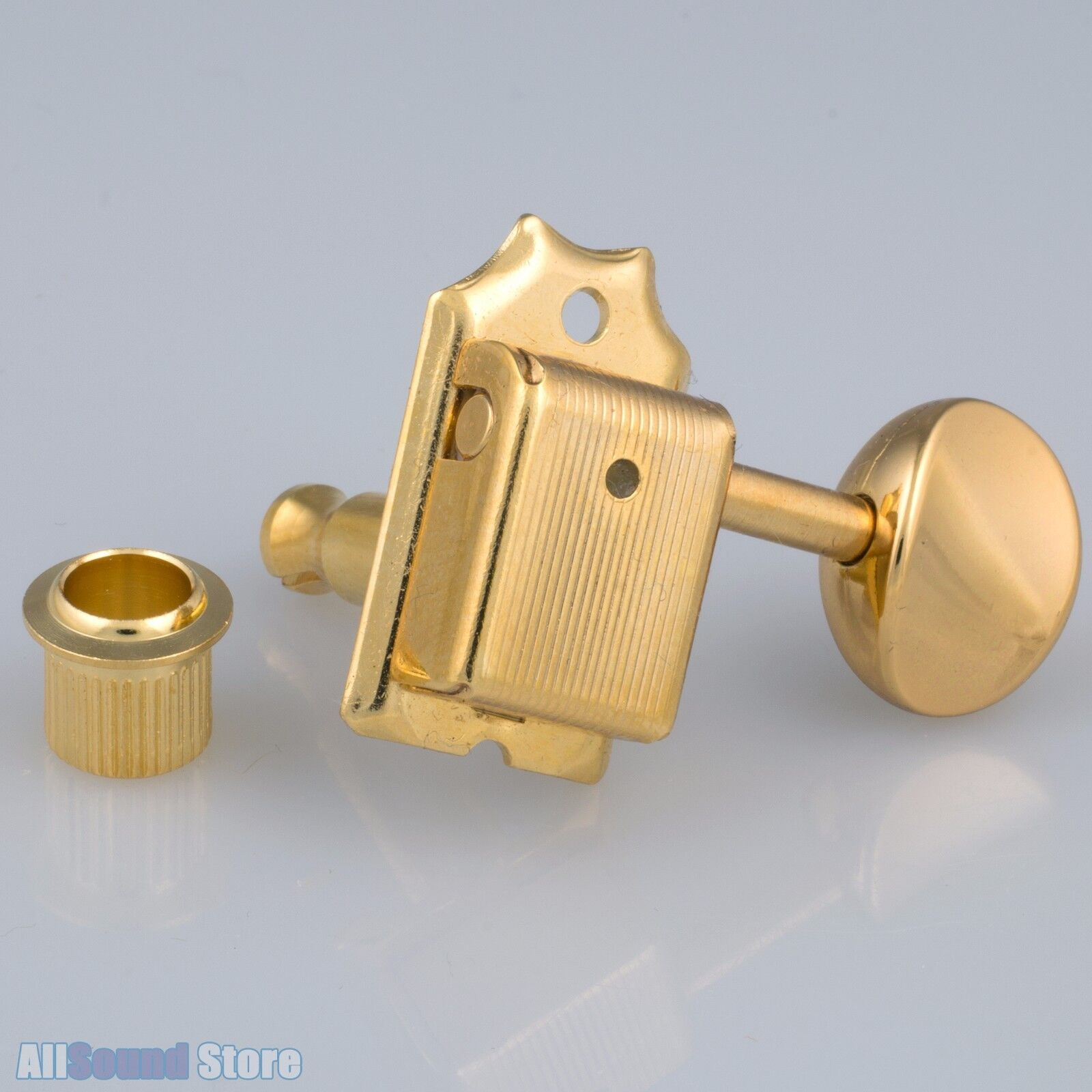 Hipshot 6-in-Line Mini LOCKING Tuners AMBER Buttons LEFT-HANDED SATIN CHROME