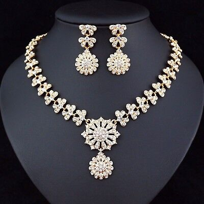 (Floral Austrian Rhinestone Crystal Necklace Earrings Set Prom Wedding Party N46)