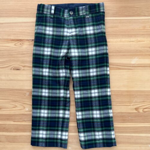 NWOT JANIE AND JACK Green Plaid Holiday Dress Pants Size 3 3T