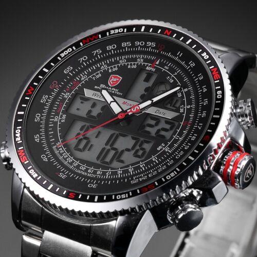 Shark Men's LCD Date Calendar Stopwatch Stainless Steel Quartz Wrist Sport Watch