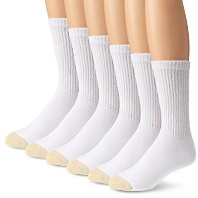 Gold Toe Men's White Cotton Crew Athletic Sock, 6-Pair Sock Size 10-13