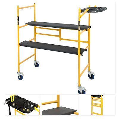 Mini Rolling Scaffold 500 Lb. Load Capacity Tool Shelf Ladders Steel Sets Swivel