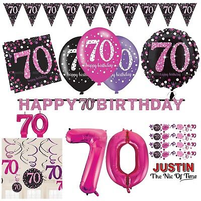 70th PINK Celebration Birthday Party Supplies Balloons Tableware & Decorations