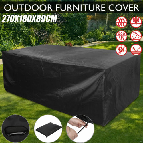 Garden Furniture - EXTRA LARGE GARDEN PATIO FURNITURE SET COVER TABLE SOFA BENCH CUBE OUTDOOR BLACK