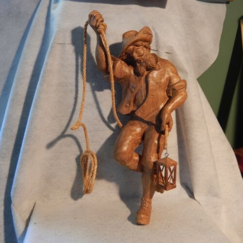 "LARGE 22"" Wood Carving WATCHMAN Man Man Italy Figure German Hand Carved Hanging"