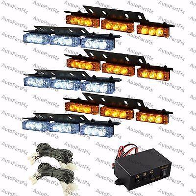 Emergency Vehicle Strobe Lights (54 WHITE AMBER LED Yellow Emergency Warning Strobe Lights Bars Deck Dash Grill )