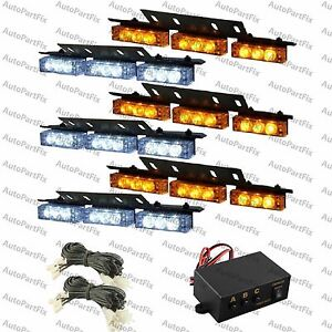Amber warning light bar ebay 54 white amber led yellow emergency warning strobe lights bars deck dash grill aloadofball Choice Image