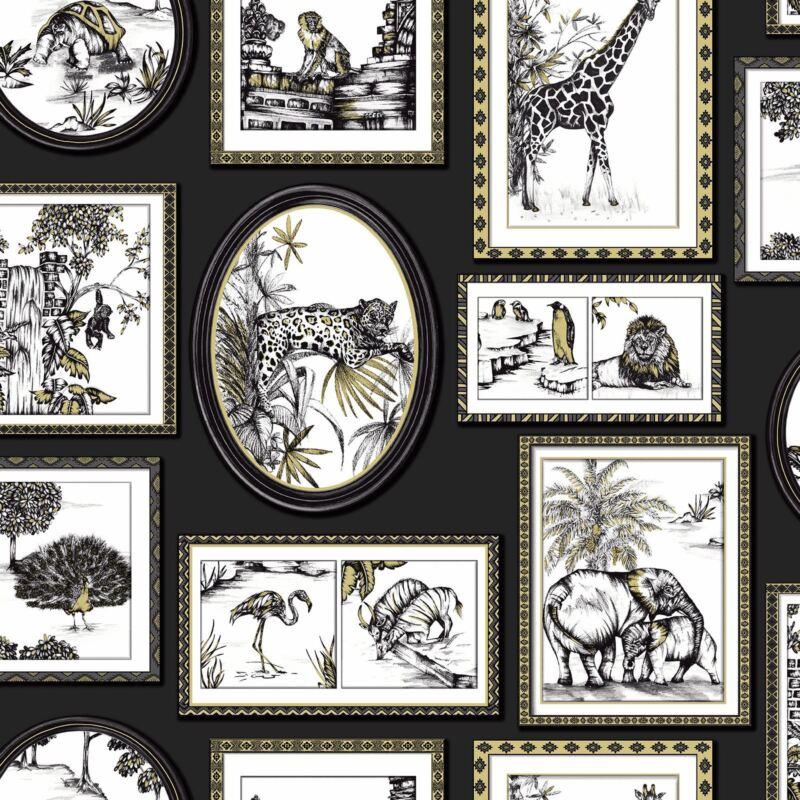 SAFARI FRAMES WALLPAPER BLACK / GOLD - HOLDEN 90071 ELEPHANT LION