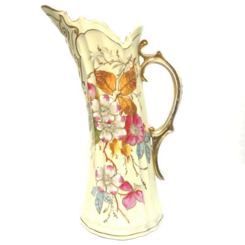 "Antique Victoria Carlsbad Austria Porcelain Ewer 9"" Tall Circa 1900 Signed"