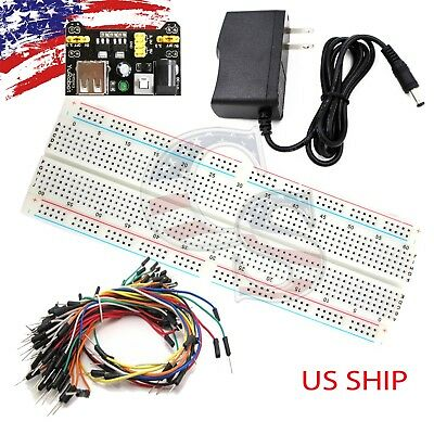 Mb-102 830 Point Prototype Pcb Breadboard 65pcs Jump Cable Wires Ac Power Supply