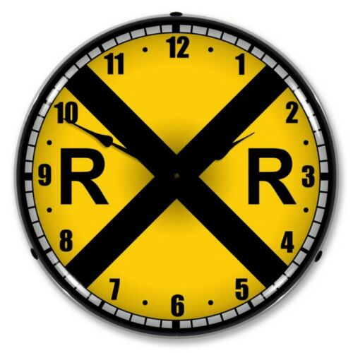 Railroad Crossing LED Lighted Wall Clock ~ Made in USA ~