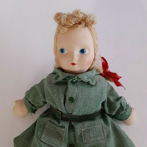 """1946 Girl Scout Doll 13"""" Inch Tall, Blonde Embroidery Floss Hair & Painted Eyes"""