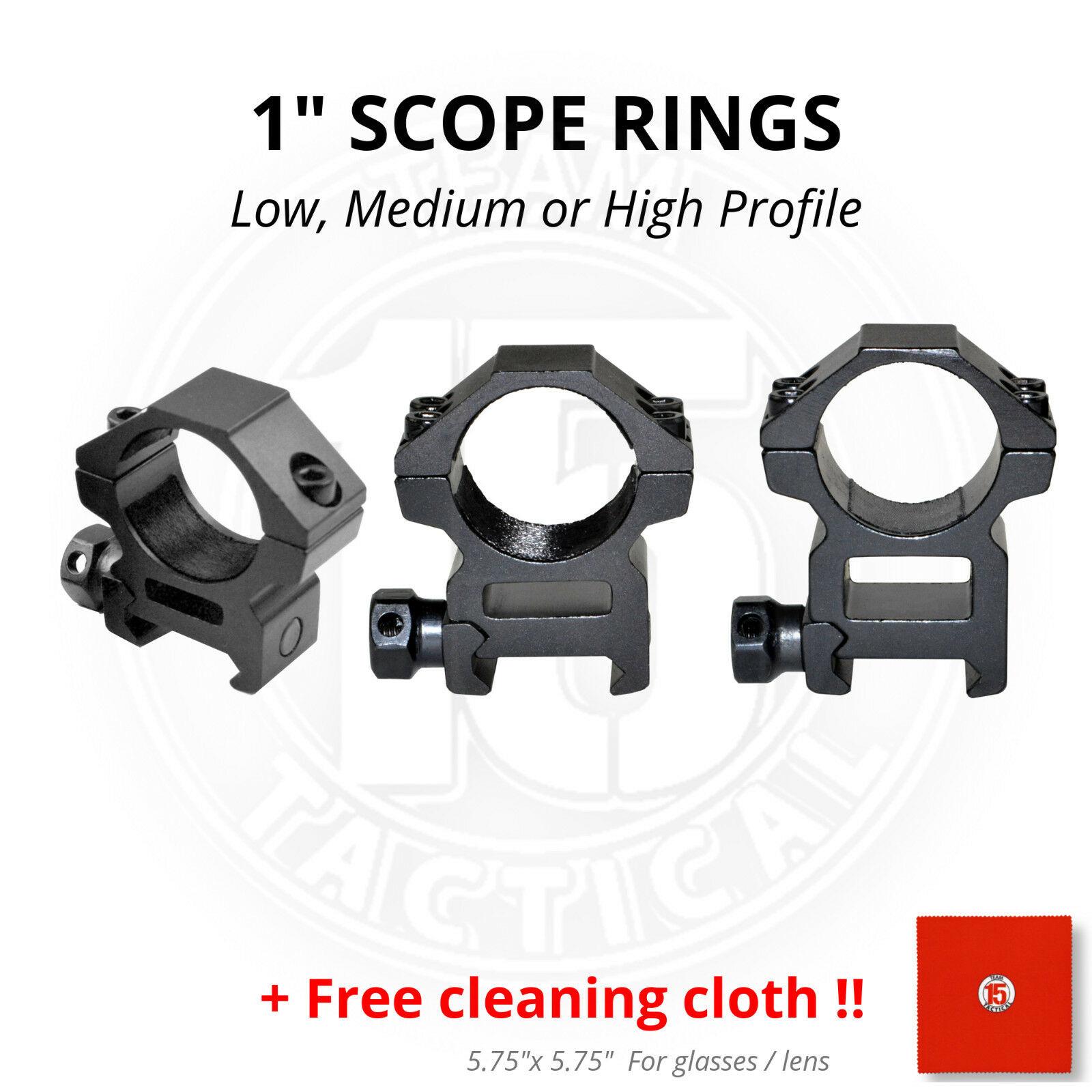 1 INCH Rifle Scope Rings Aluminum Picatinny Low, Medium / Hi