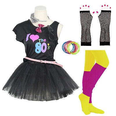 Little Girl 80s Outfits (Little Big Gilrs 80s Costume Accessorie Fancy Outfit Dress for 1980s Theme)