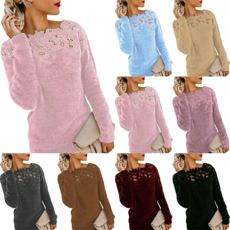 Womens Lace Patchwork Jumper Ladies Long Sleeve Sweater Pull