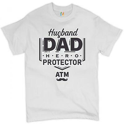 Husband Dad Protector Hero ATM T-shirt Father's Day Papa Daddy Men's Tee