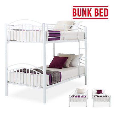 BN Modern 3FT Single White Metal Bunk Bed Frame 2 Person for Adult Children