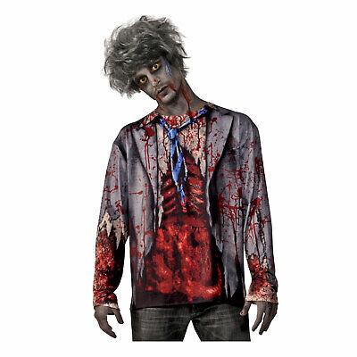 Teen Zombie Costume (Adult Teen Men's Zombie Graphic Costume T-Shirt Bloody Walking Dead Walker)