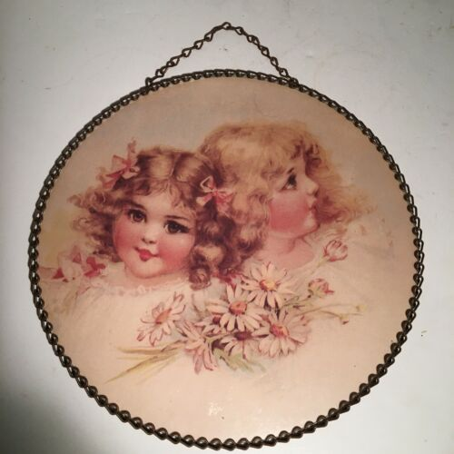 """Vintage 9"""" Round Chain Picture Frame Victorian Style Little Girls With Flowers"""