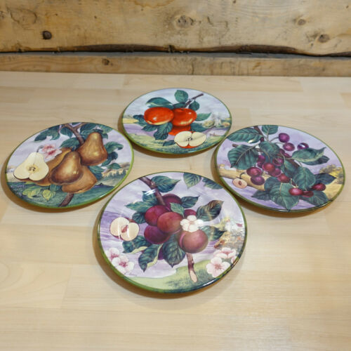 Set of 4 Salad Plates Fruit Patterns Villa d