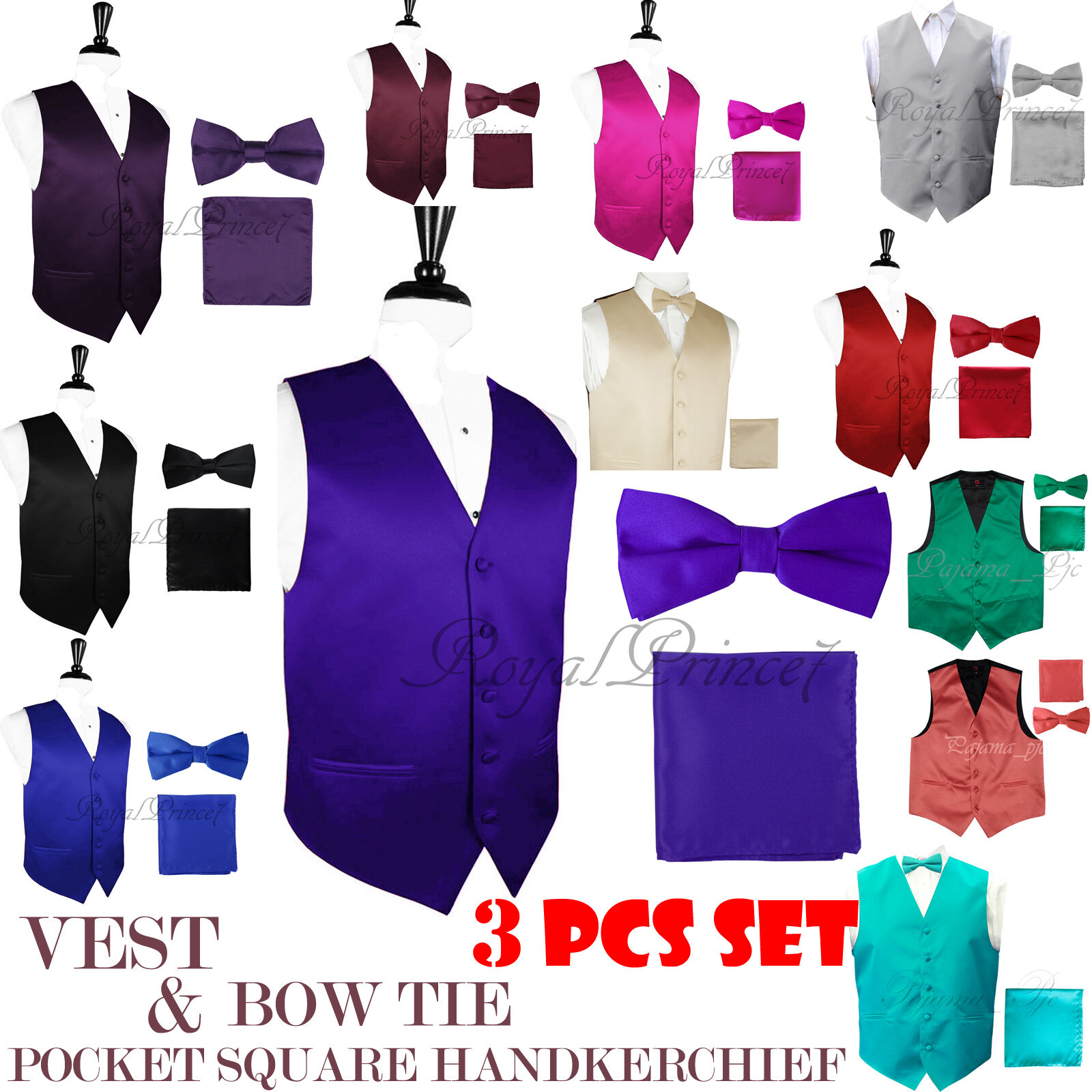 MEN SOLID Design Dress VEST and Pre-Tied BOW TIE & HANKIE SE