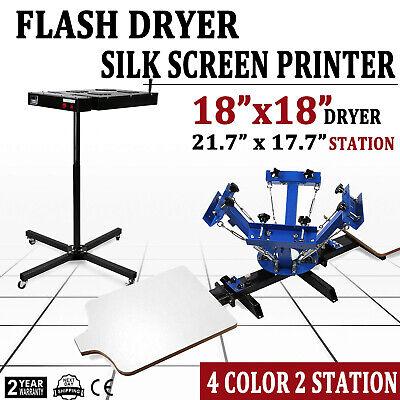 4 Color Screen Printing Press Kit Machine 2 Station Silk Screening Flash Dryer