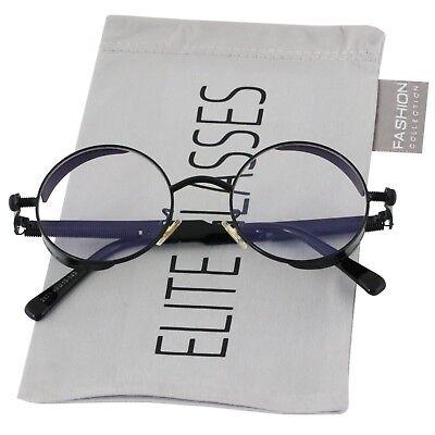 Round Steampunk Glasses Sunglasses Men Women Metal Fashion Designer Black Clear](Steampunk Fashion Male)