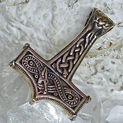 schöner massiver 4 x 3 cm Thorshammer Bronze Thorhammer Midgardschlange Mjölnir