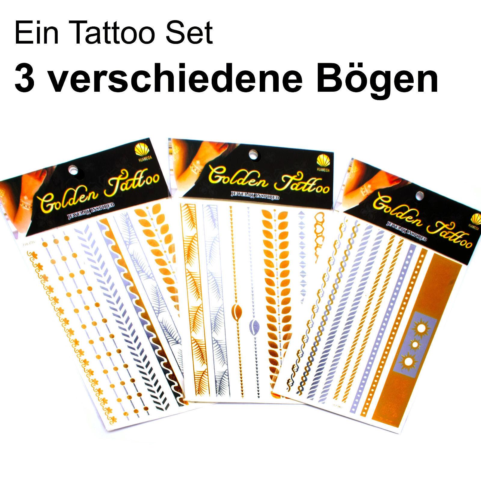 Tattoo Schmuck 3 x Metallic Golden Flash Hautschmuck SIlber Holi Festival Hippie