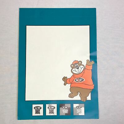"A & W Root Beer Bear UNUSED Restaurant Store 11"" x 16"" Cardboard SIGN"